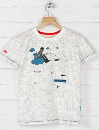 Gini and Jony white printed cotton t-shirt