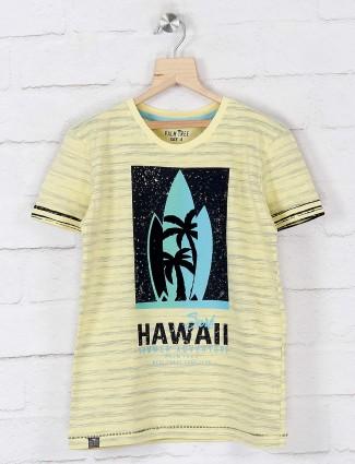 Gini and Jony yellow printed casual wear t-shirt