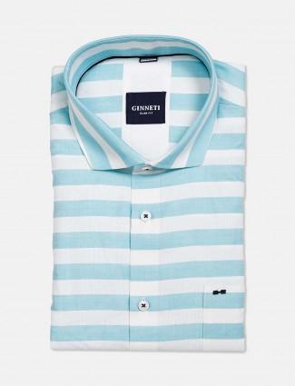 Ginneti aqua and white stripe shirt