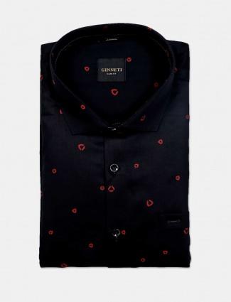 Ginneti black printed cotton party wear shirt