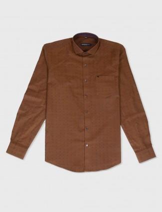 Ginneti brown solid shirt