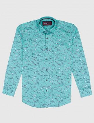 Ginneti casual wear green printed shirt
