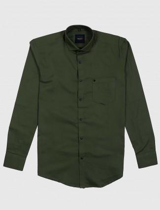 Ginneti dark green casual full sleeves shirt