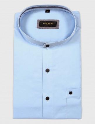 Ginneti formal light blue solid shirt
