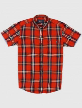 Ginneti mens orange hued checks shirt
