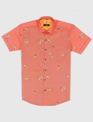 Ginneti orange printed pattern shirt