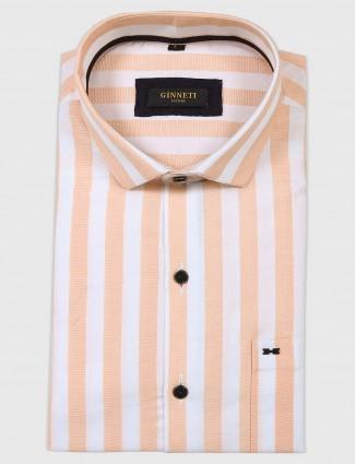Ginneti peach striped pattern shirt