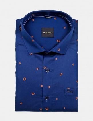 Ginneti printed navy full sleeve cotton shirt