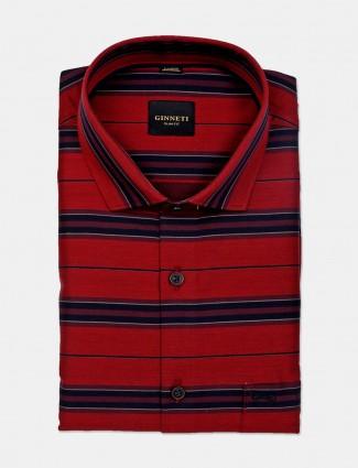 Ginneti red stripe patern cotton shirt