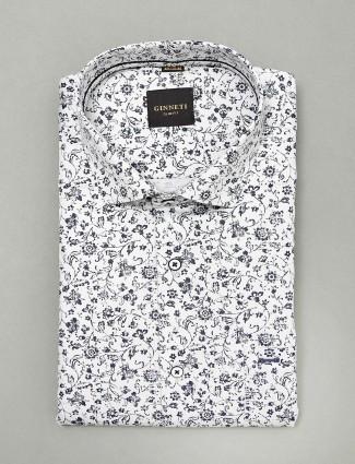 Ginneti white colored printed slim fit shirt