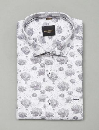Ginneti white printed cotton shirt for mens