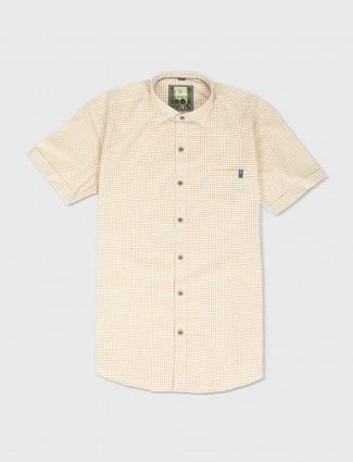 Ginneti yellow and white checks shirt
