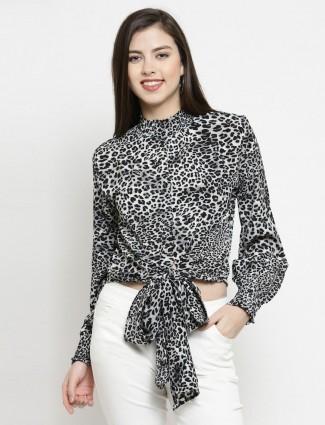 Global Republic grey crepe casual wear women top
