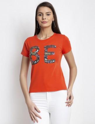 Global Republic latest orange cotton casual wear top