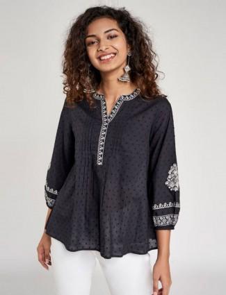 Globaldesi Black Self Design Embroidered Top