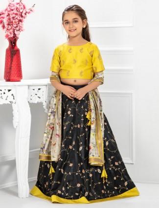 Gold and black color cotton silk lehenga choli