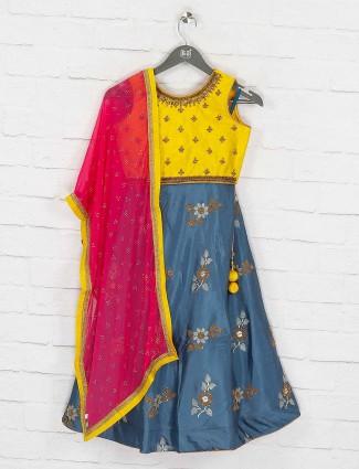 Gold and blue designer lehenga choli