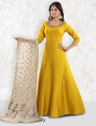Gold color raw silk floor length anarkali salwar suit