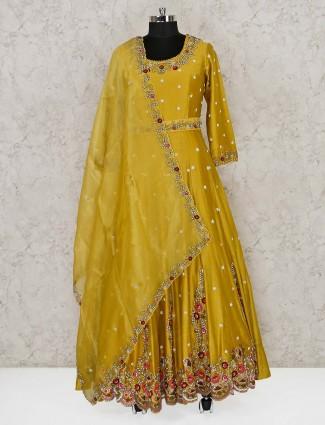 Gold cotton silk floor length anarkali suit