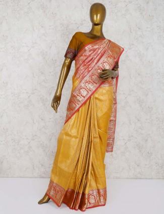 Gold hue south semi silk fabric saree