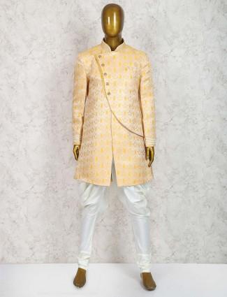 Gold hue wedding wear semi indo western