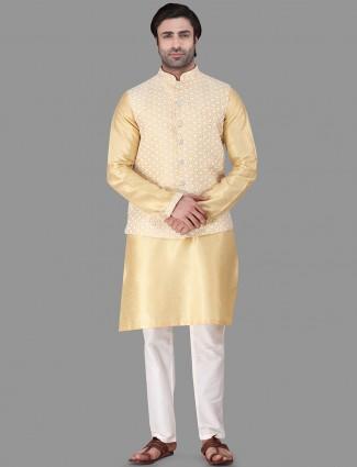 Gold raw silk with tjread work mens waistcoat set