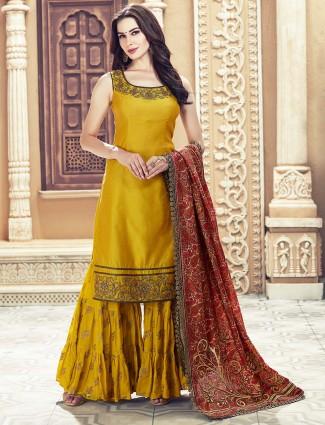 Golden color cotton silk sharara suit