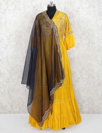 Golden hue color raw silk floor length anarkali salwar suit