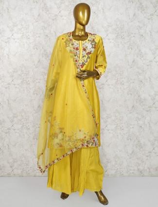 Golden hue cotton festive wear punjabi palazzo suit