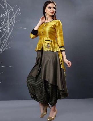 Golden hue cotton silk festive dhoti suit