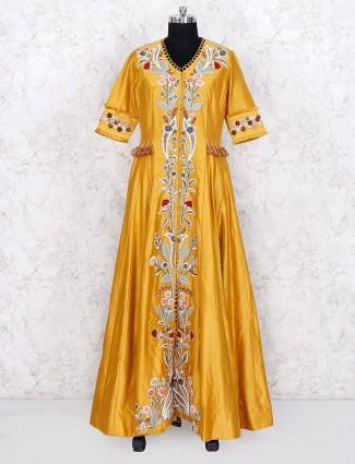 Golden hue cotton silk festive floor length anarkali salwar suit