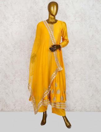 Golden hue cotton silk festive punjabi palazzo suit