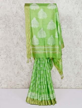 Gorgeous green bhagalpuri silk saree