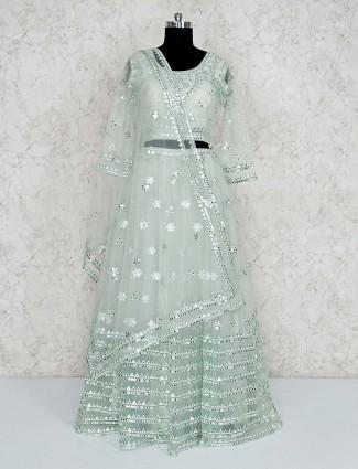 Gorgeous green net lehenga choli