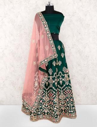 Gorgeous green semi stitched cotton silk lehenga choli