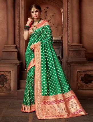 Gorgeous green silk wedding saree