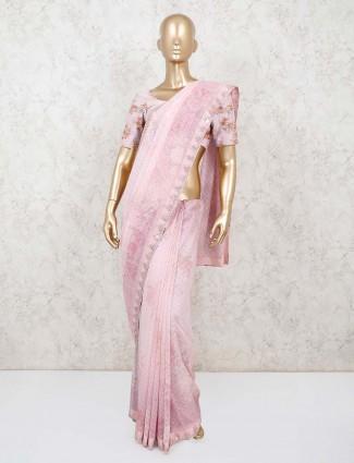 Gorgeous pink chiffon saree