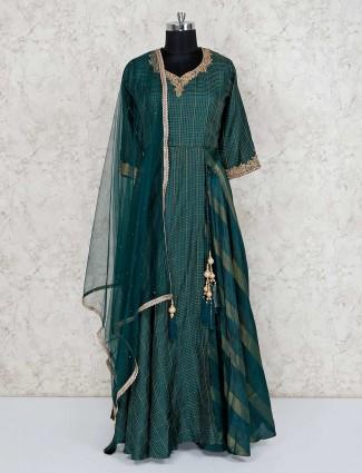 Green anarkali salwar kameez in cotton