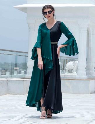 Green and black satin kurti