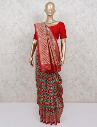 Green and maroon wedding saree in banarasi silk