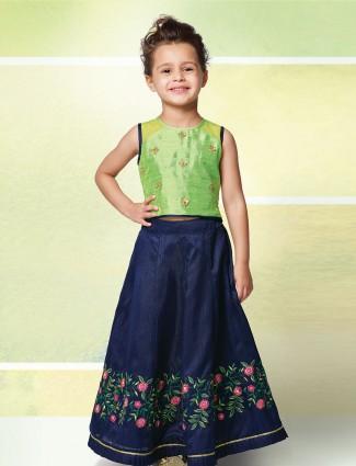 Green and navy hue festive raw silk lehenga choli