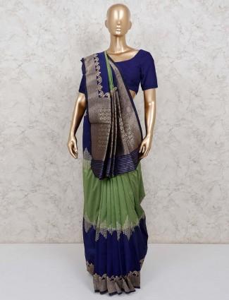 Green and navy semi silk saree