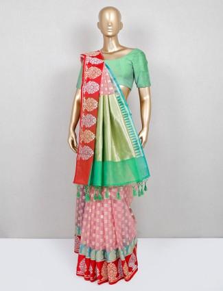 Green and pink banarasi cotton silk saree for women