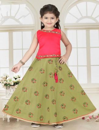 Green and pink cotton silk lehenga choli