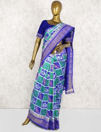 Green and purple patola silk wedding saree