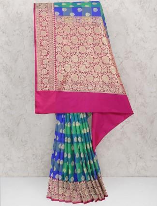 Green hued semi silk festive saree