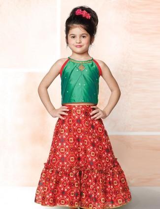 Green and red printed lehenga choli