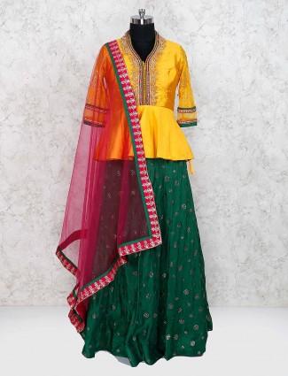 Green and yellow cotton silk lehenga choli