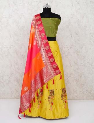 Green and yellow silk wedding semi stitched lehenga choli