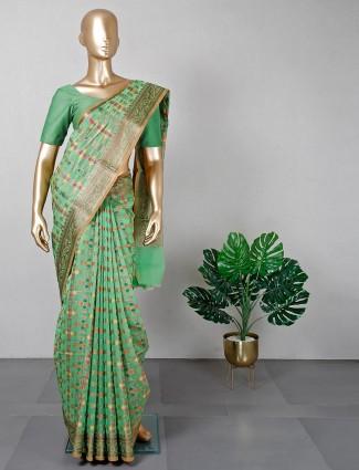 Green banarasi cotton silk saree for women
